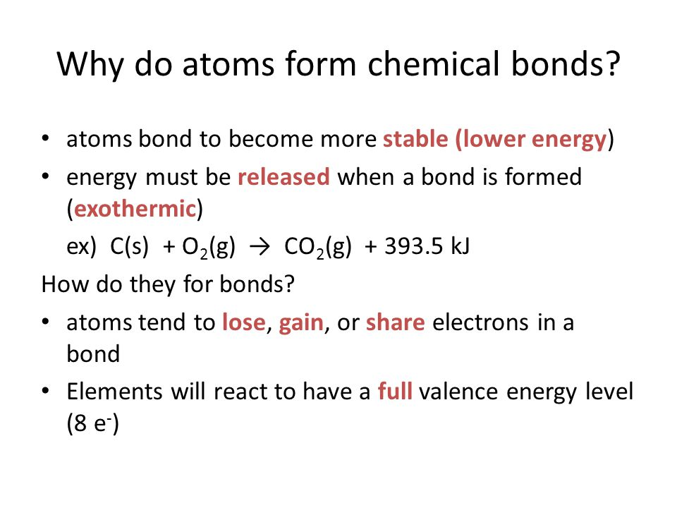 Why do atoms form chemical bonds