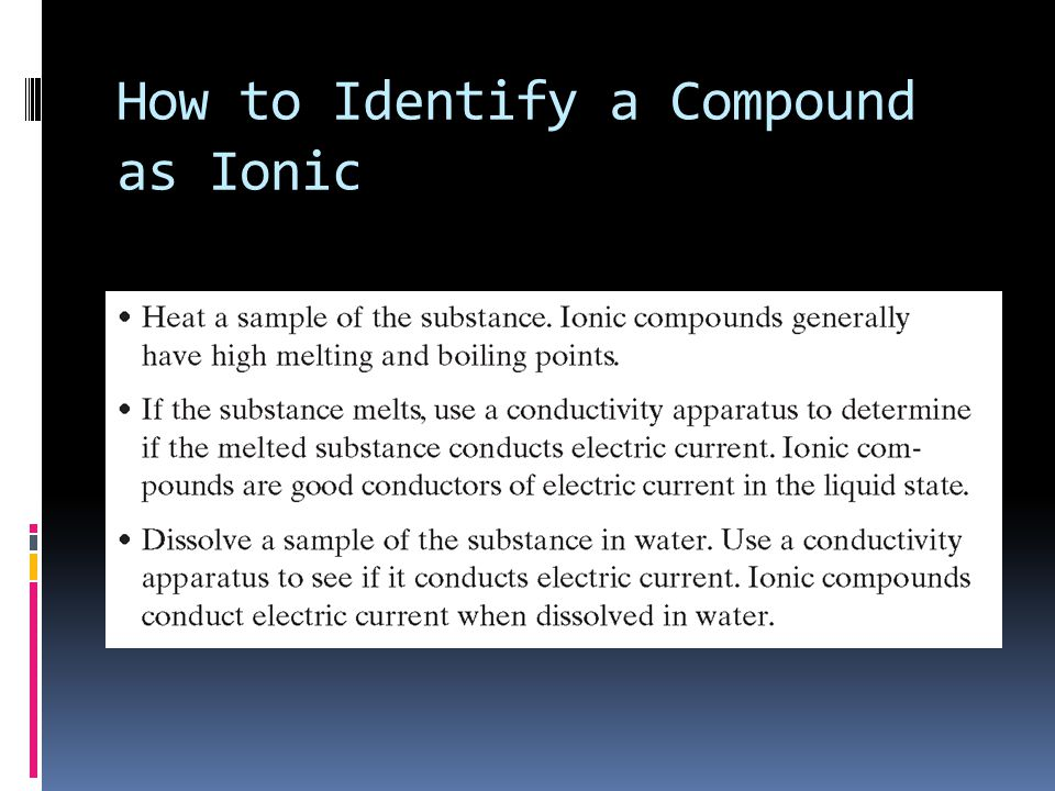 How to Identify a Compound as Ionic