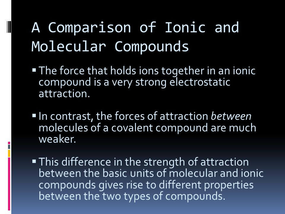 A Comparison of Ionic and Molecular Compounds