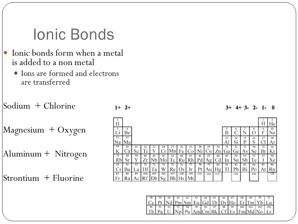 Ionic Bonds Ionic bonds form when a metal is added to a non metal