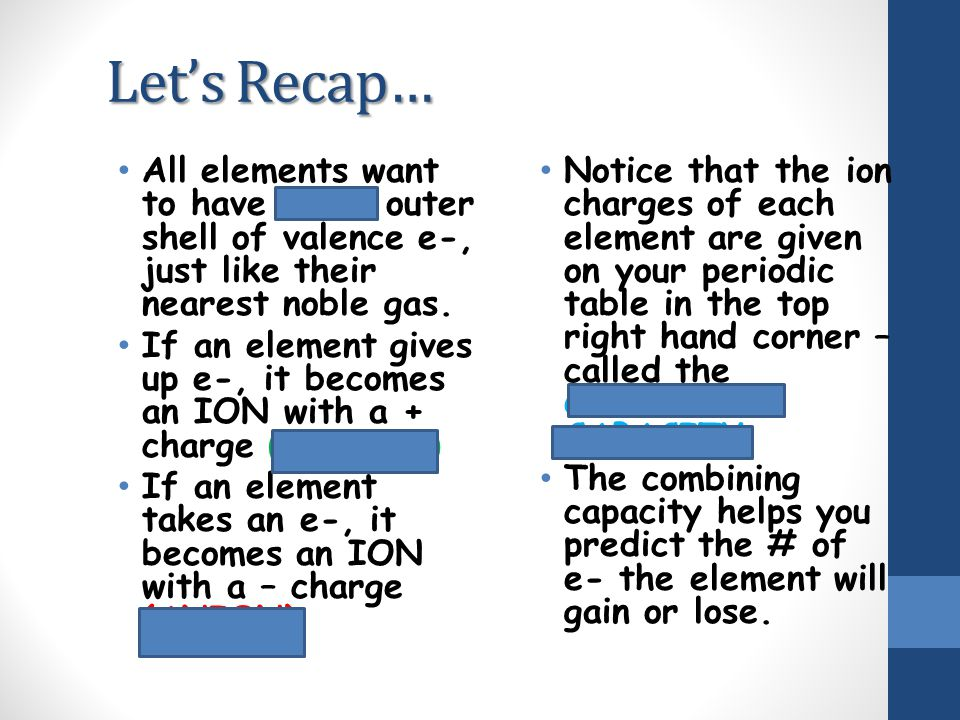 Let's Recap… All elements want to have a full outer shell of valence e-, just like their nearest noble gas.