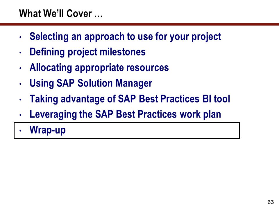 What well cover selecting an approach to use for your project 64 sap best practices for business intelligence malvernweather Images