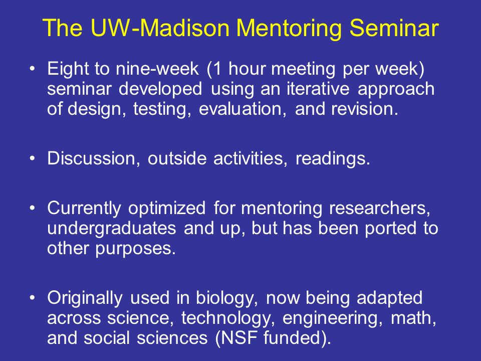 The UW-Madison Mentoring Seminar