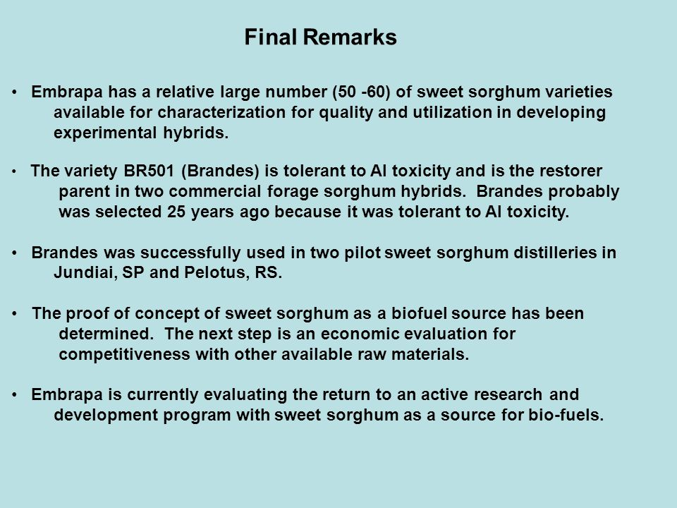 Final Remarks Embrapa has a relative large number (50 -60) of sweet sorghum varieties.
