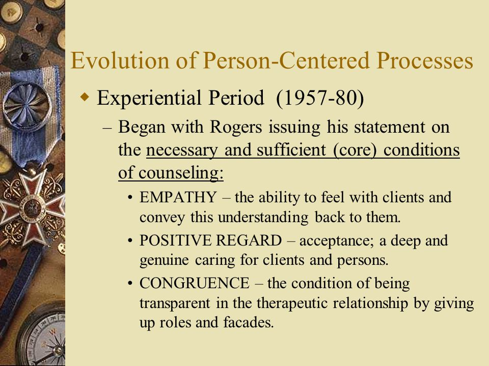 core conditions of person centered therapy