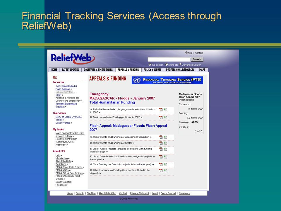 Financial Tracking Services (Access through ReliefWeb)