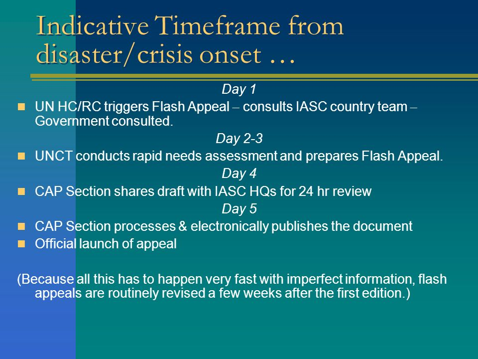 Indicative Timeframe from disaster/crisis onset …
