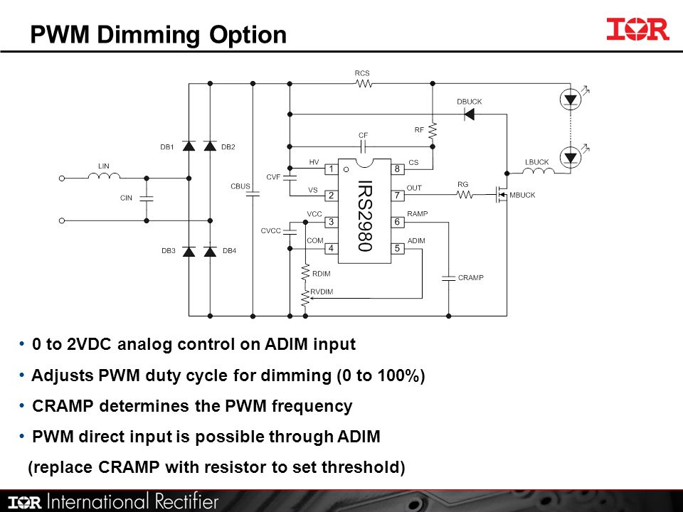 PWM Dimming Option 0 to 2VDC analog control on ADIM input