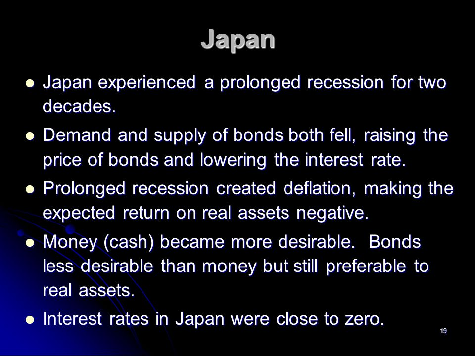 Japan Japan experienced a prolonged recession for two decades.