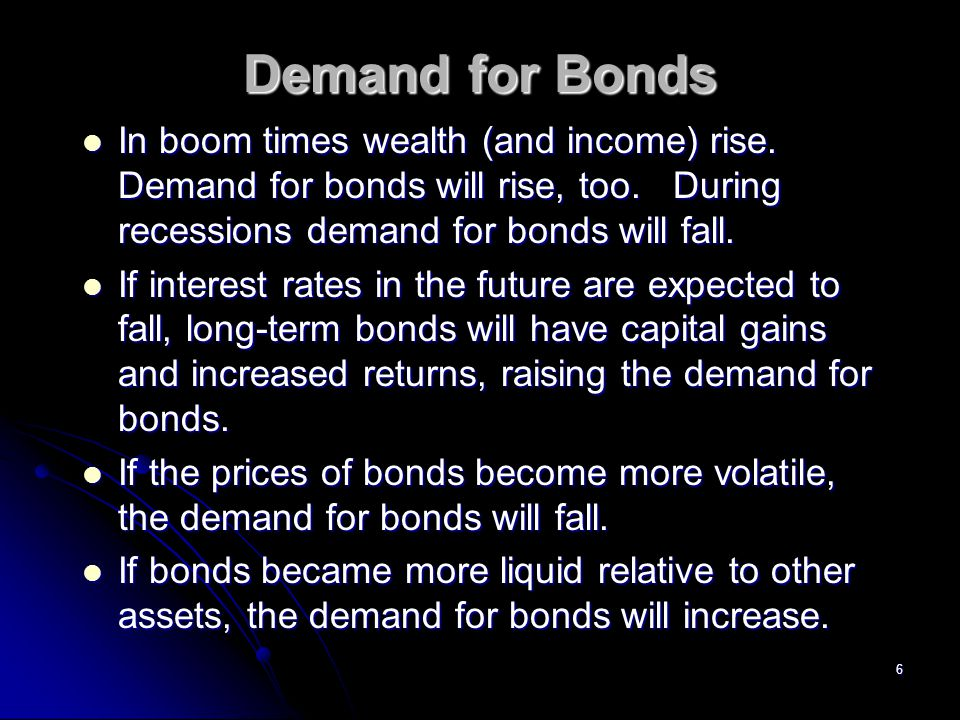Demand for Bonds In boom times wealth (and income) rise. Demand for bonds will rise, too. During recessions demand for bonds will fall.
