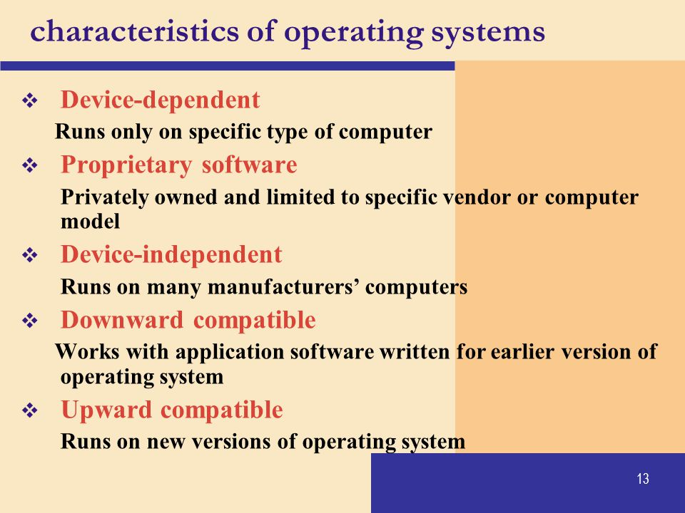 characteristics of operating systems