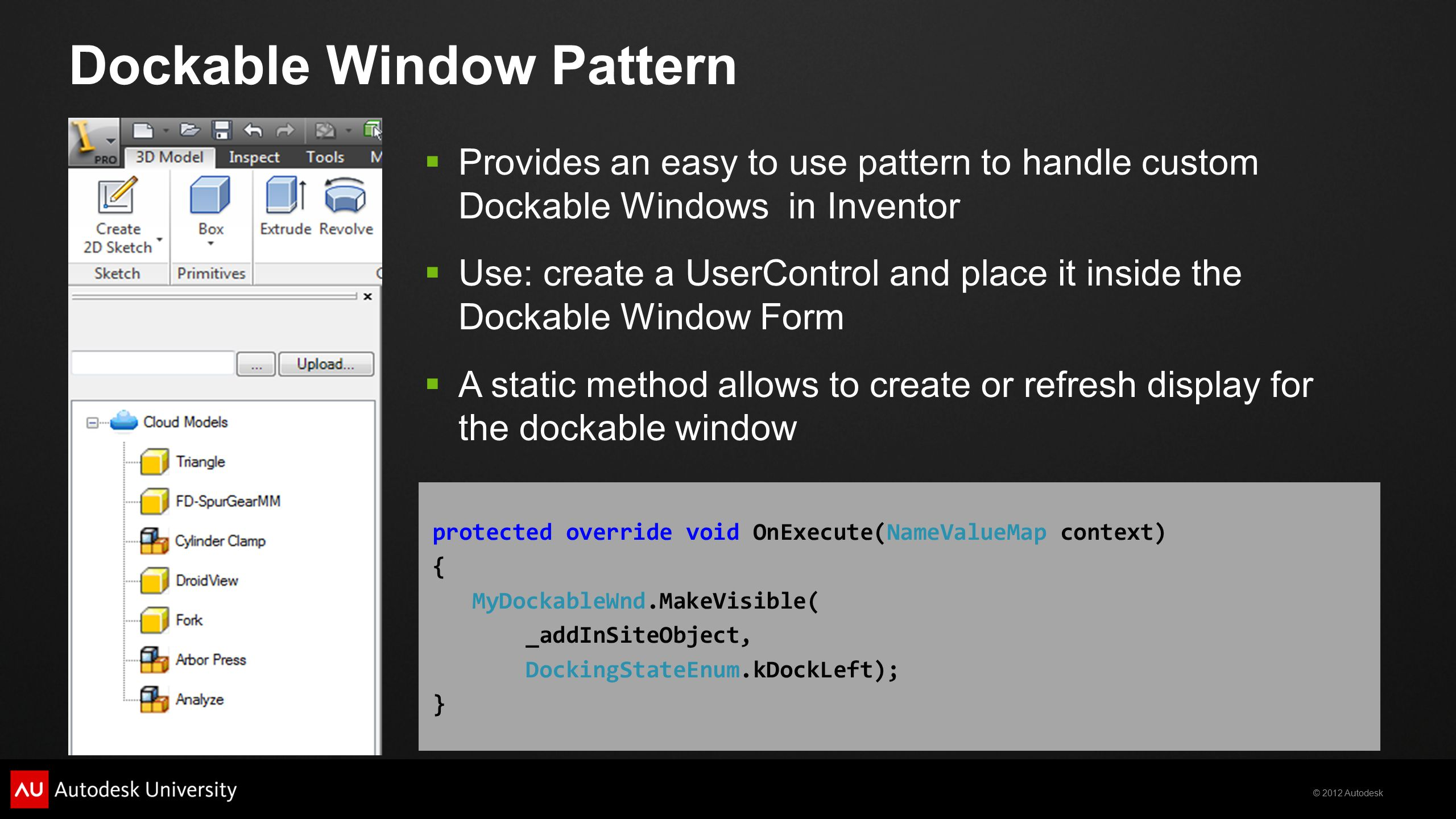 Design Patterns Applied to Autodesk® Inventor® API - ppt