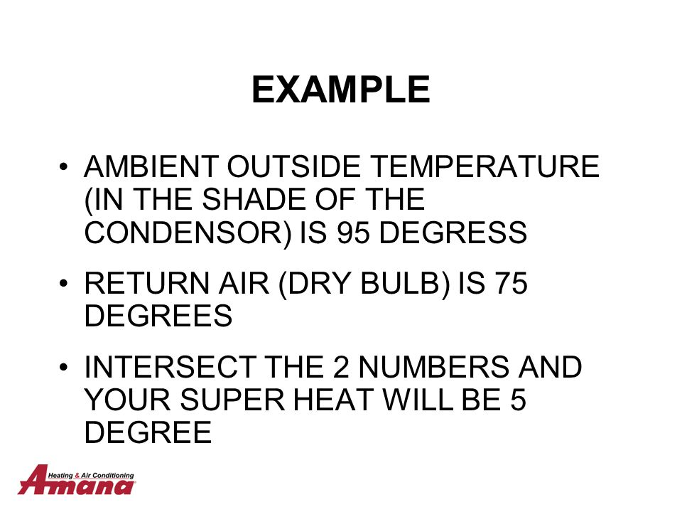EXAMPLE AMBIENT OUTSIDE TEMPERATURE (IN THE SHADE OF THE CONDENSOR) IS 95 DEGRESS. RETURN AIR (DRY BULB) IS 75 DEGREES.