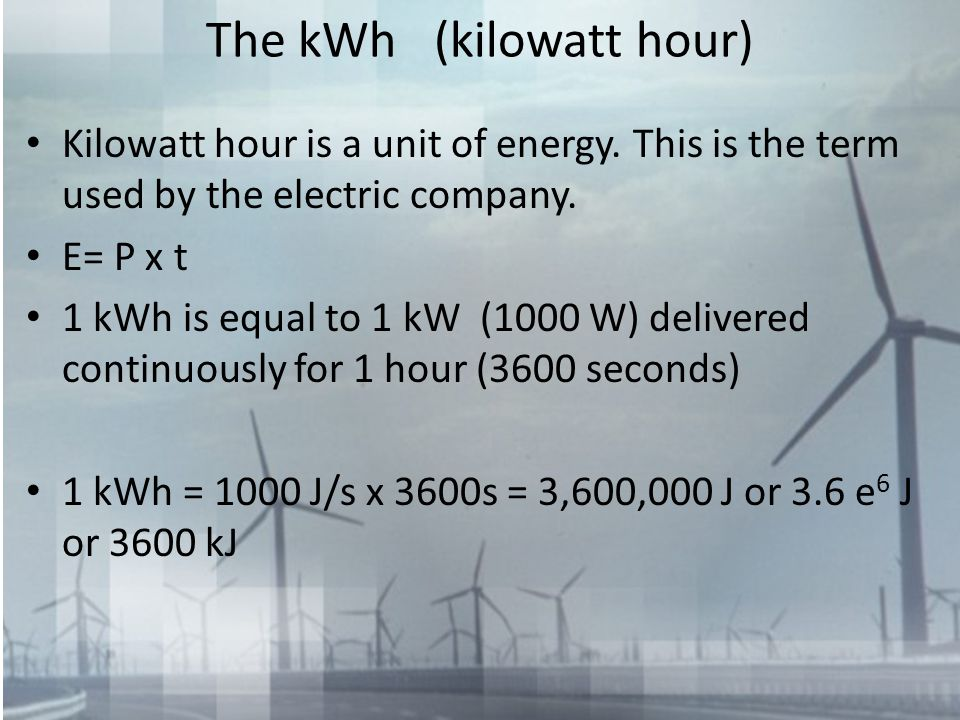 The kWh (kilowatt hour)