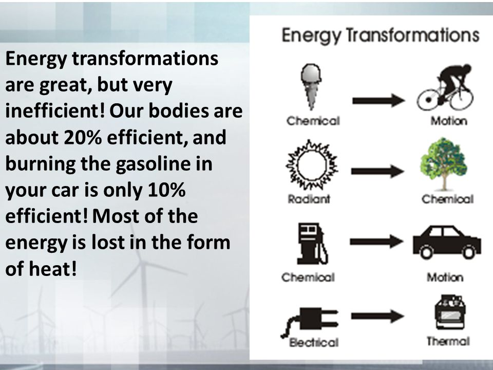 Energy transformations are great, but very inefficient
