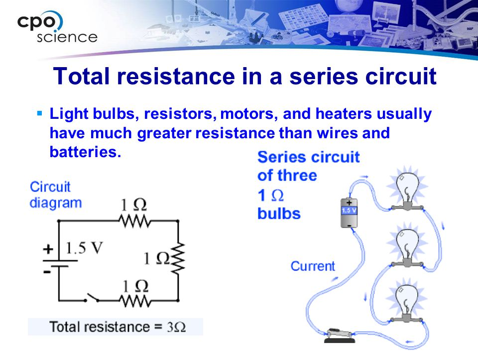 Total resistance in a series circuit
