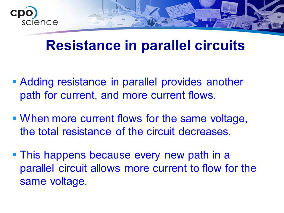 Resistance in parallel circuits