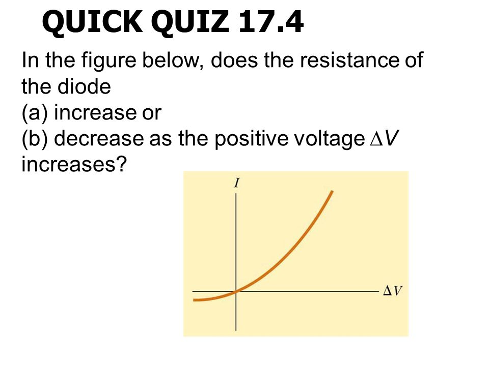 QUICK QUIZ 17.4 In the figure below, does the resistance of the diode (a) increase or (b) decrease as the positive voltage ∆V increases