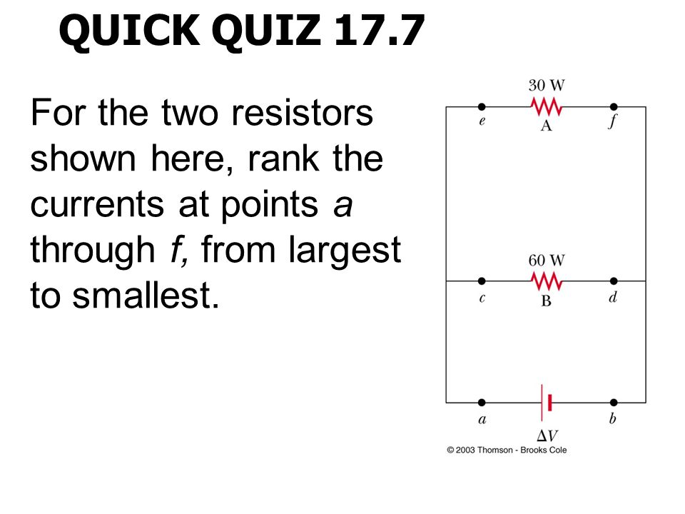 QUICK QUIZ 17.7 For the two resistors shown here, rank the currents at points a through f, from largest to smallest.