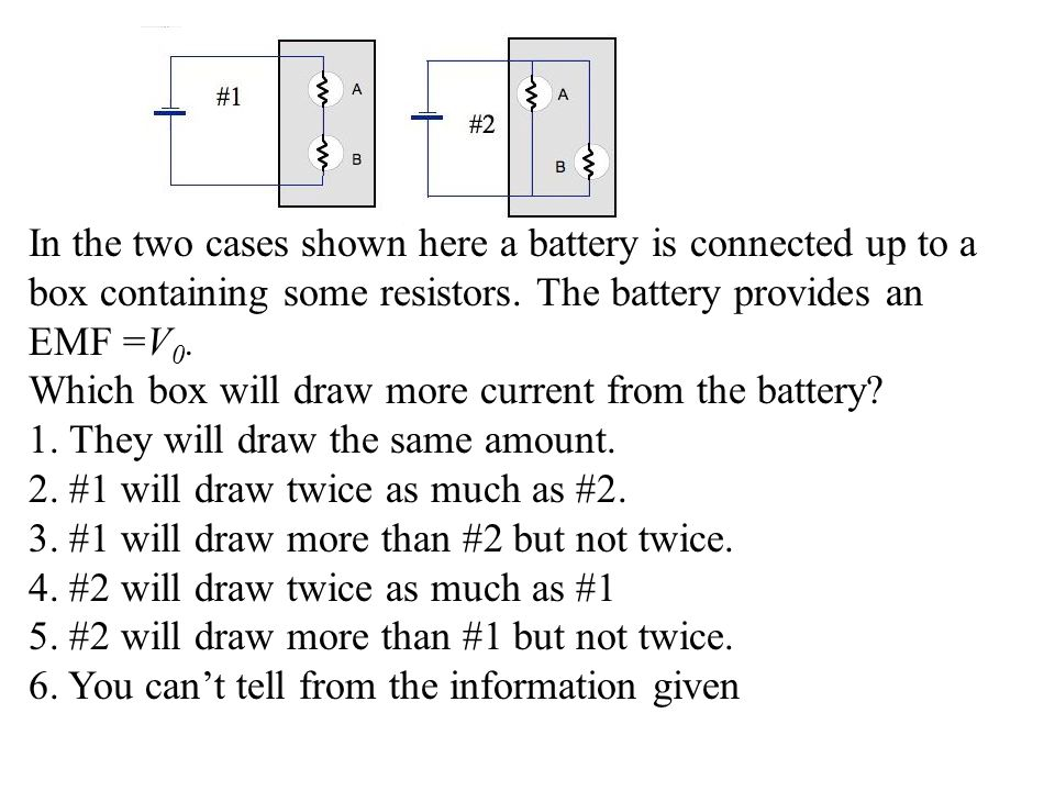 In the two cases shown here a battery is connected up to a box containing some resistors. The battery provides an EMF =V0.