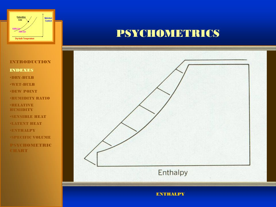PSYCHOMETRICS INTRODUCTION INDEXES PSYCHOMETRIC CHART ENTHALPY