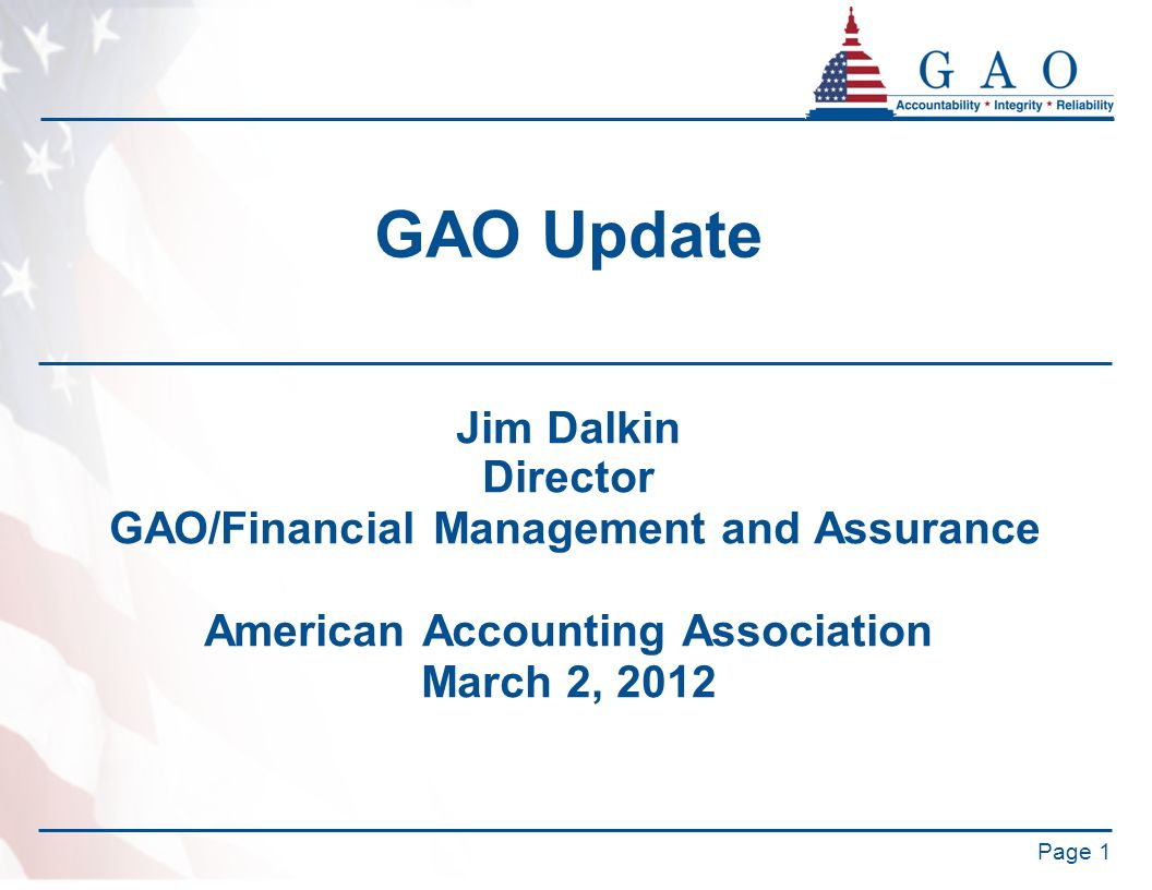 GAO/Financial Management and Assurance American Accounting Association