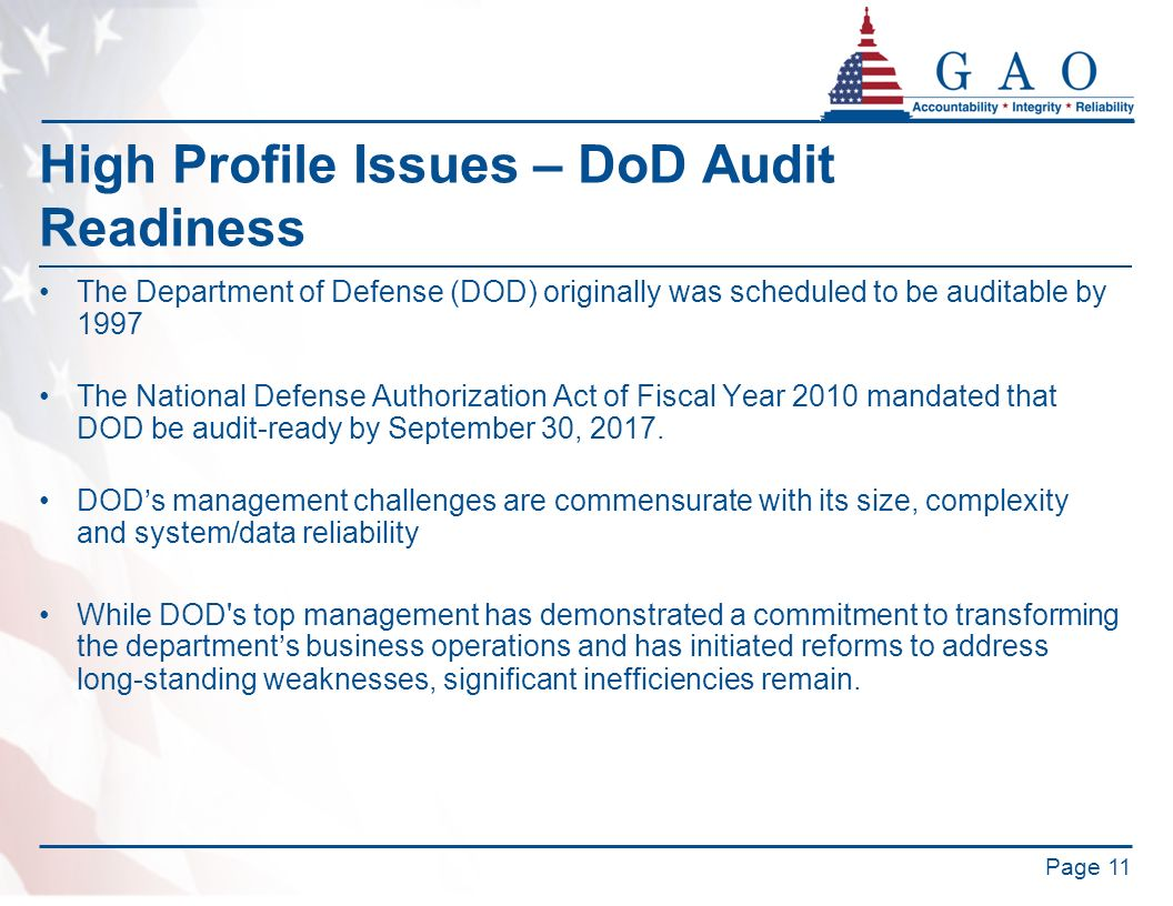 High Profile Issues – DoD Audit Readiness
