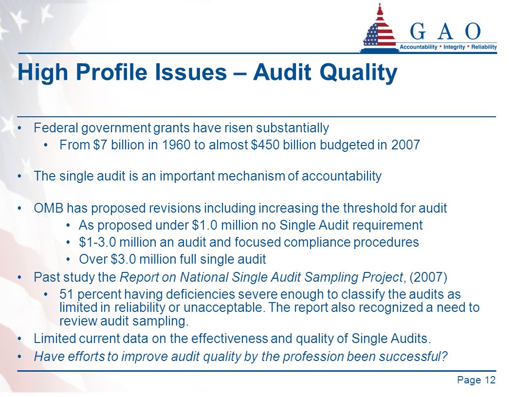 High Profile Issues – Audit Quality