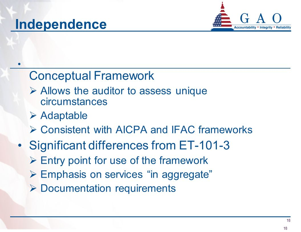 Independence Significant differences from ET-101-3