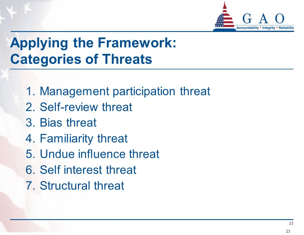 Applying the Framework: Categories of Threats
