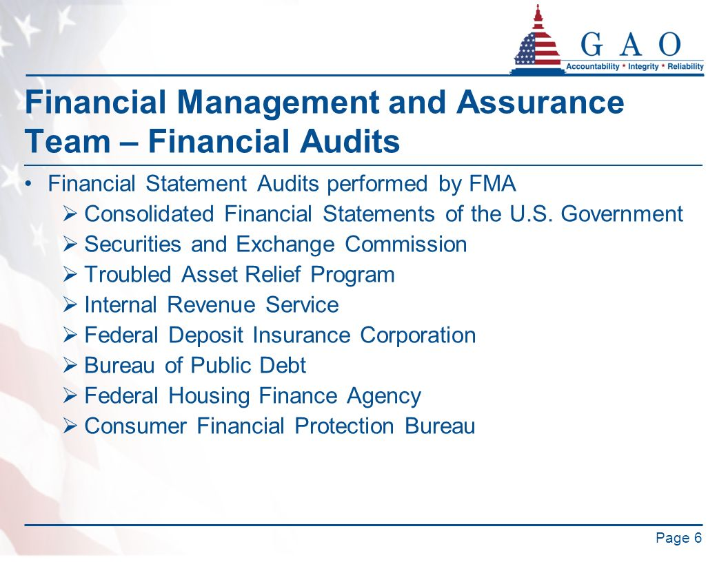 Financial Management and Assurance Team – Financial Audits