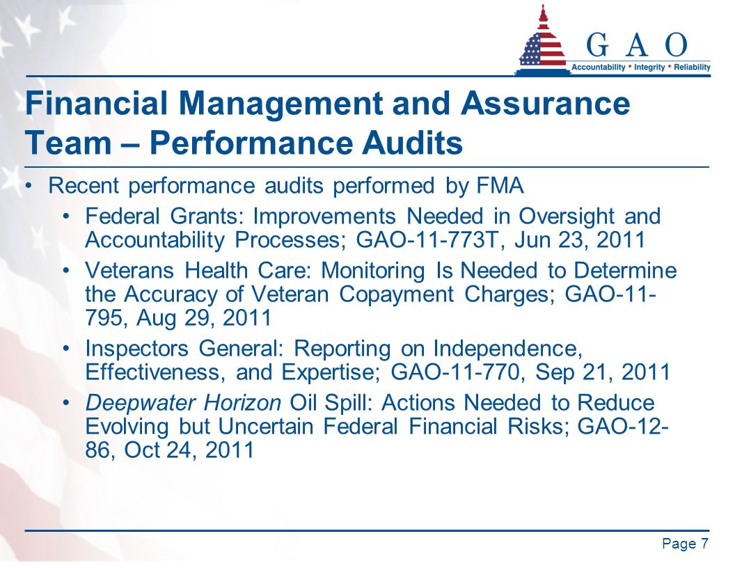 Financial Management and Assurance Team – Performance Audits