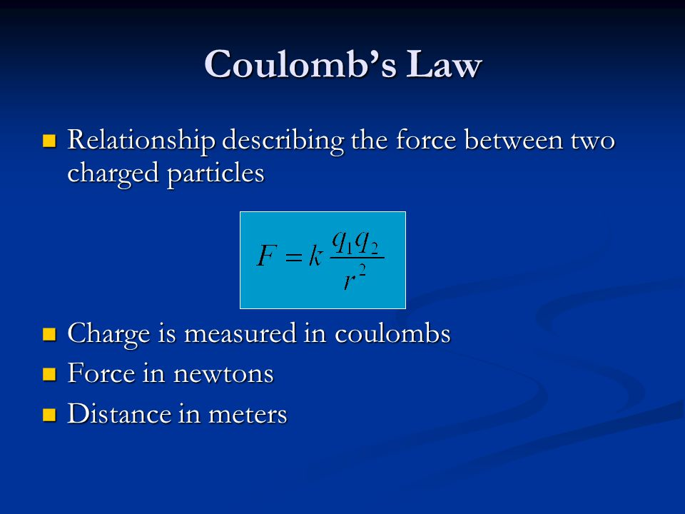 Coulomb's Law Relationship describing the force between two charged particles. Charge is measured in coulombs.
