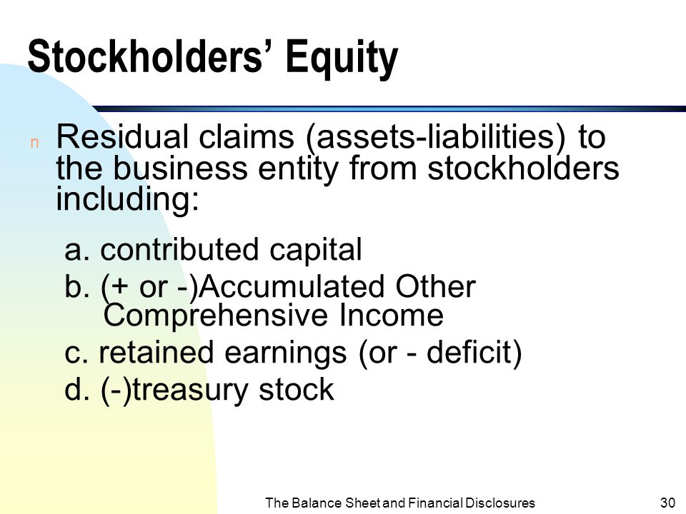 Balance Sheet and Financial Disclosures - ppt video online download