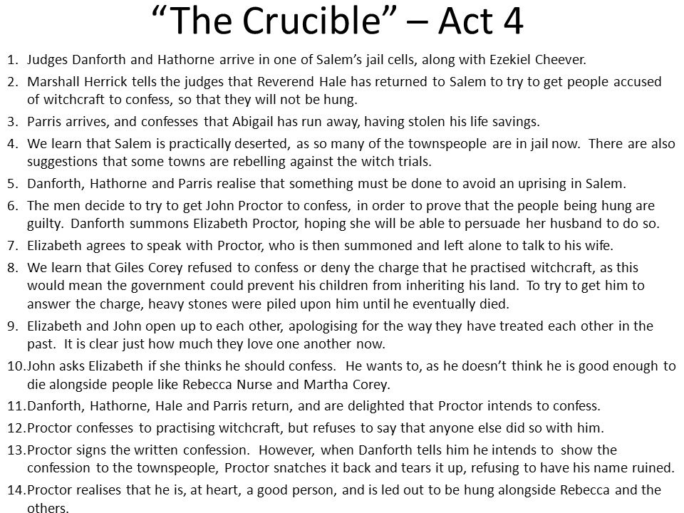 the crucible act 3 character analysis The crucible act 3 1 do now: have you or someone you knowever been unable to make a person listen toyou 13 • a petition that attests to the character of elizabeth, martha corey and rebecca nurse - explaining they are good people and were never seen to communicate with the devil• 91.