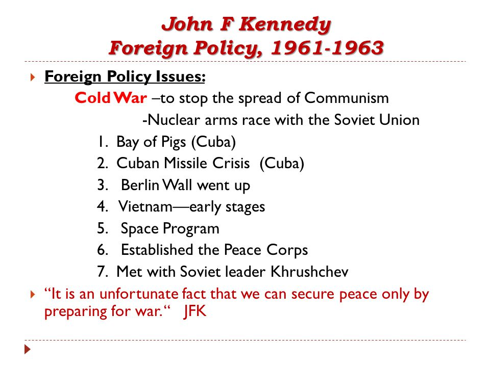 john f kennedy foreign policy
