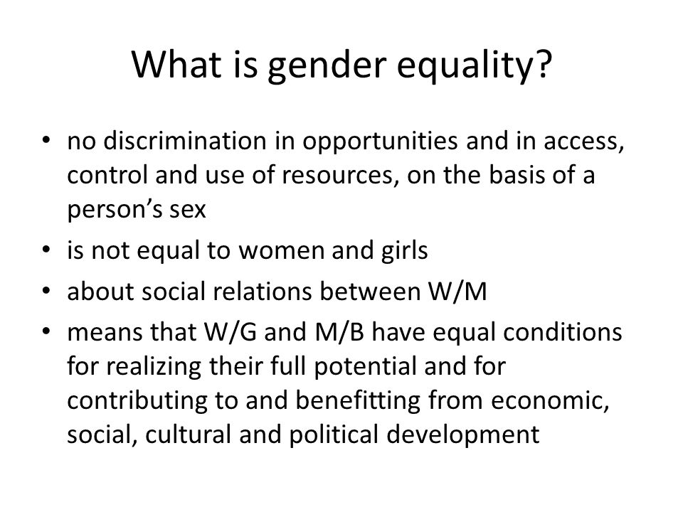 What is gender equality