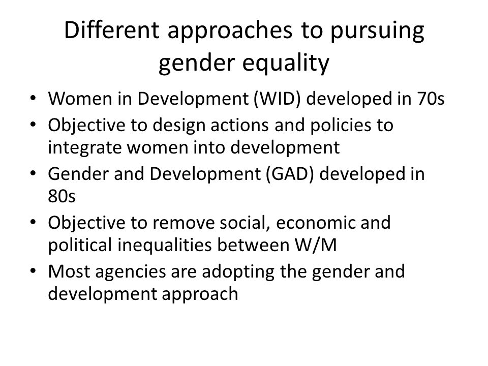 Different approaches to pursuing gender equality