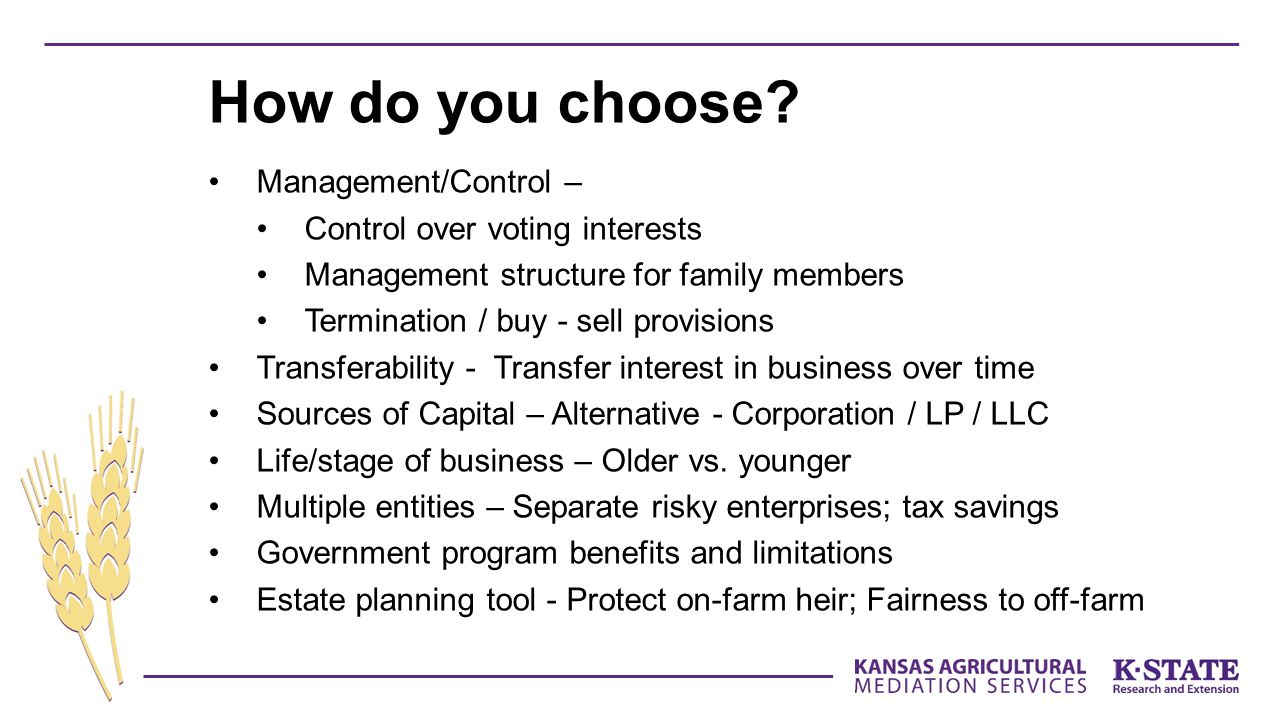 How do you choose Management/Control – Control over voting interests
