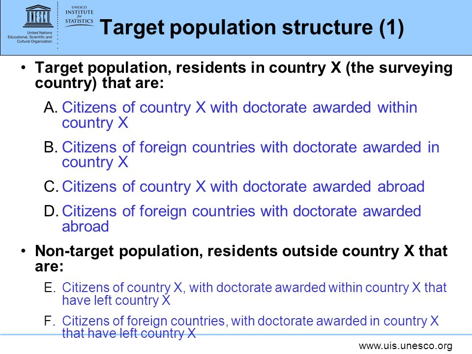 Target population structure (1)