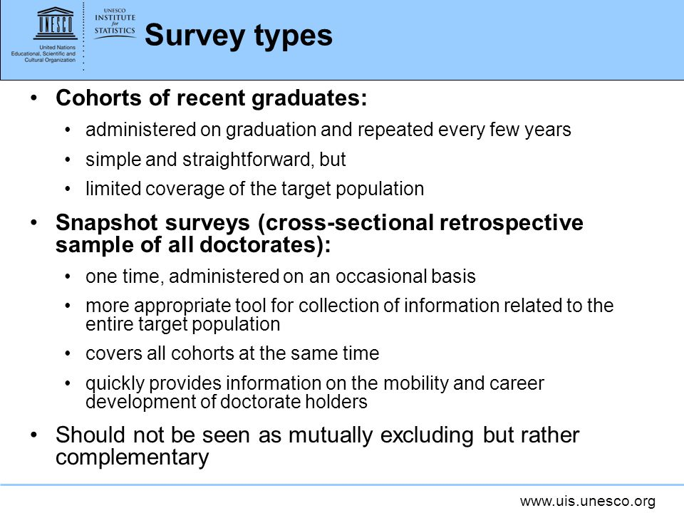 Survey types Cohorts of recent graduates: