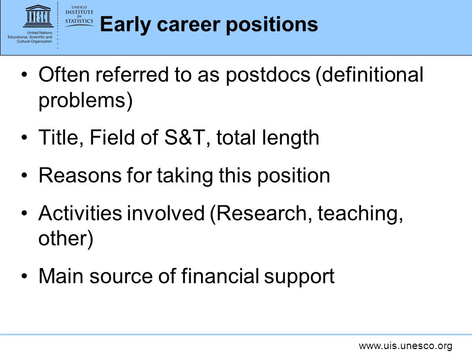 Early career positions