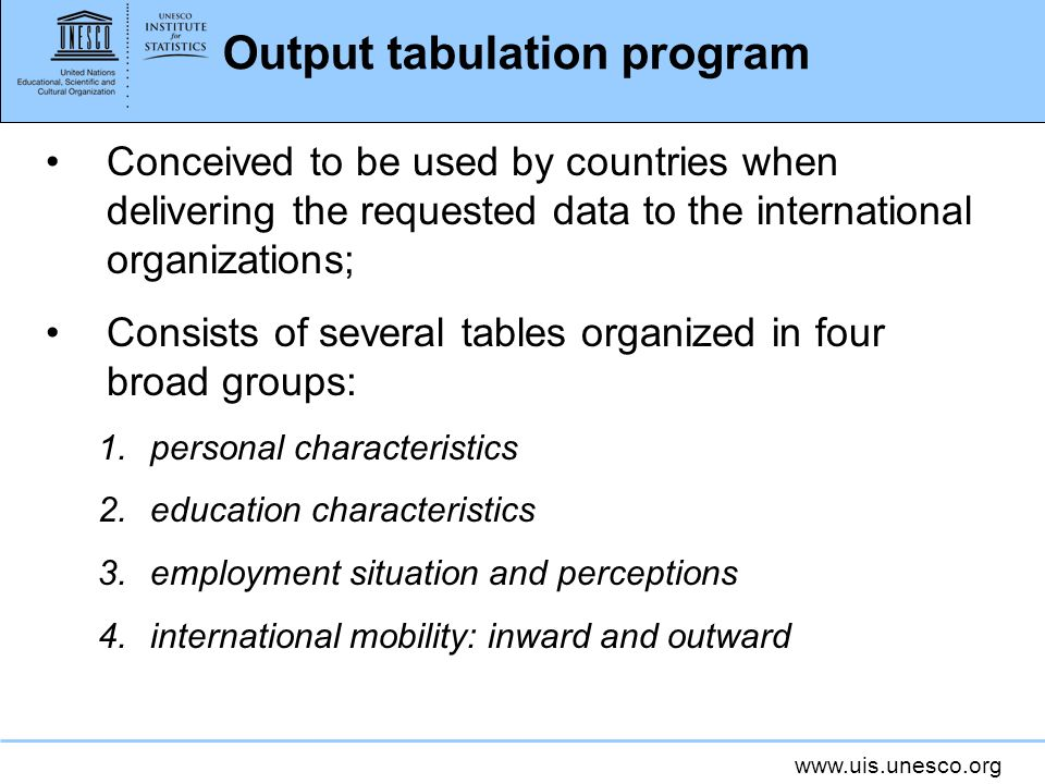 Output tabulation program