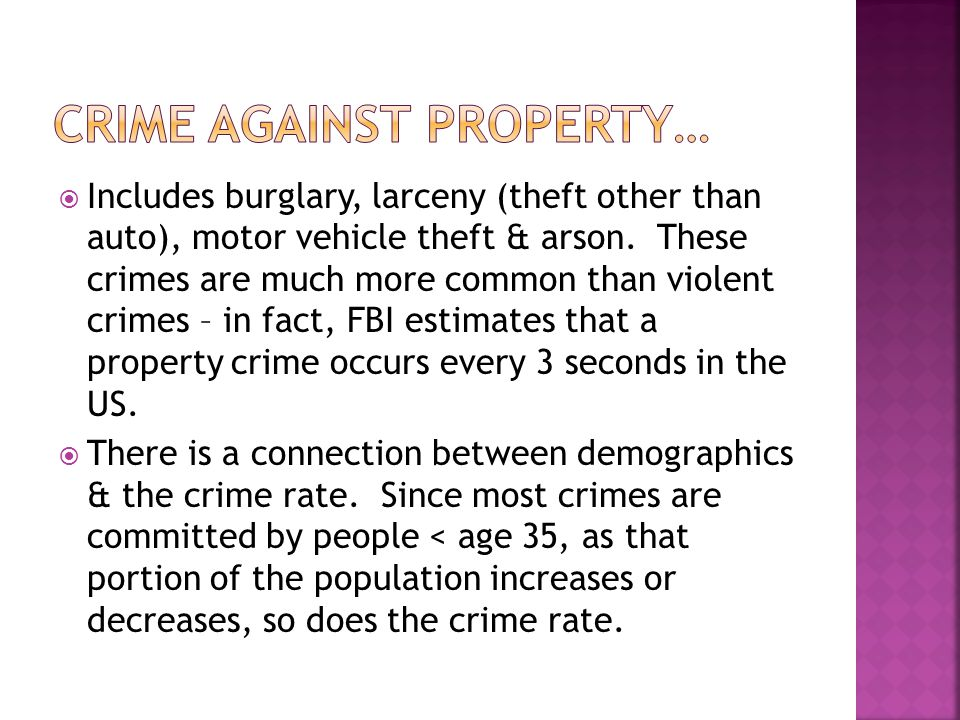 CRIME AGAINST PROPERTY…
