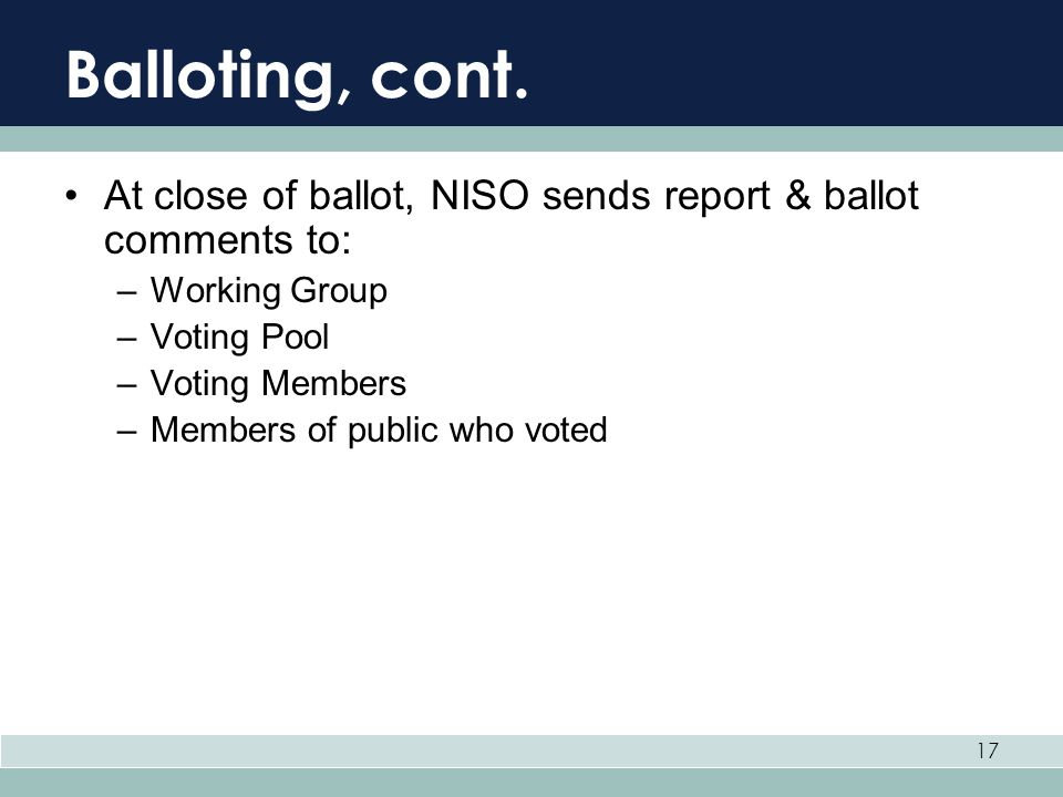 Balloting, cont. At close of ballot, NISO sends report & ballot comments to: Working Group. Voting Pool.