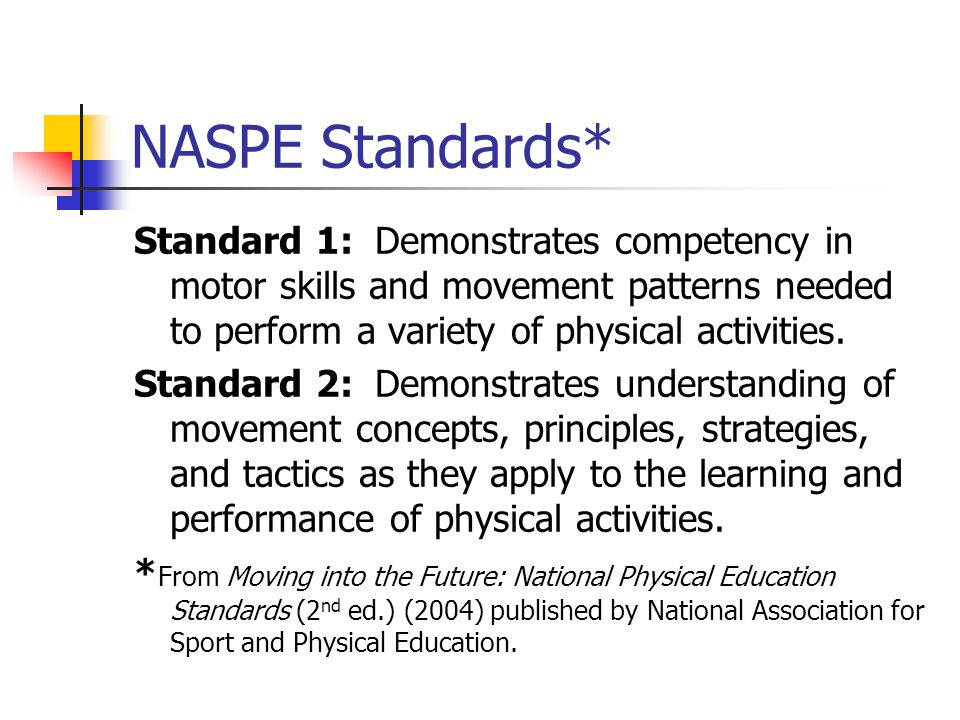 NASPE Standards* Standard 1: Demonstrates competency in motor skills and movement patterns needed to perform a variety of physical activities.