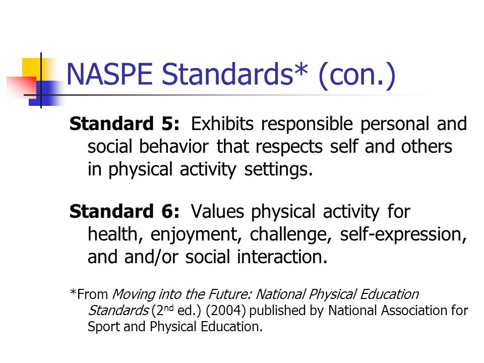 NASPE Standards* (con.)
