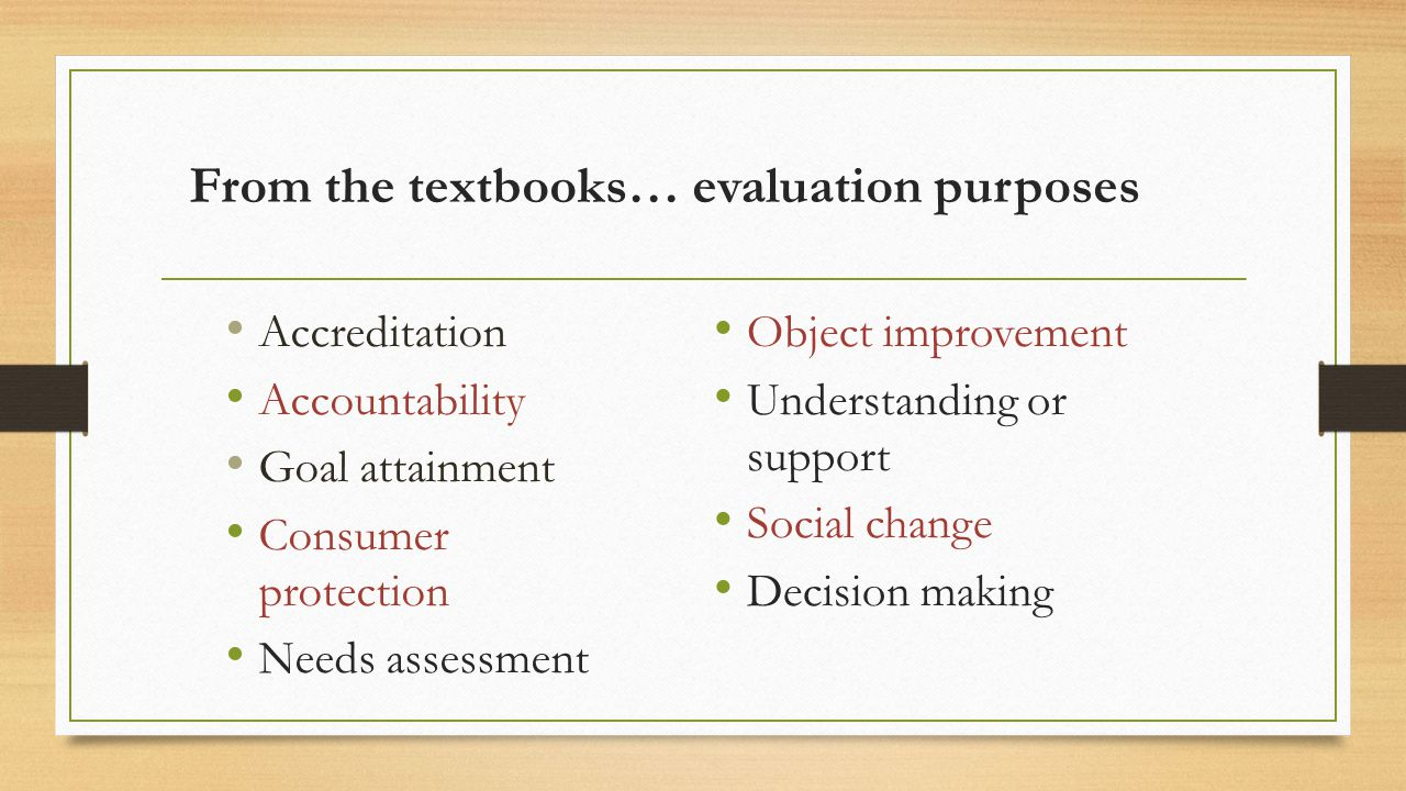 From the textbooks… evaluation purposes