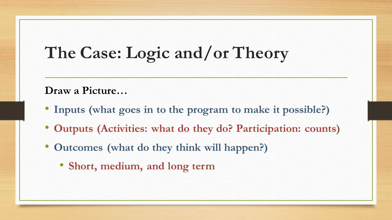 The Case: Logic and/or Theory