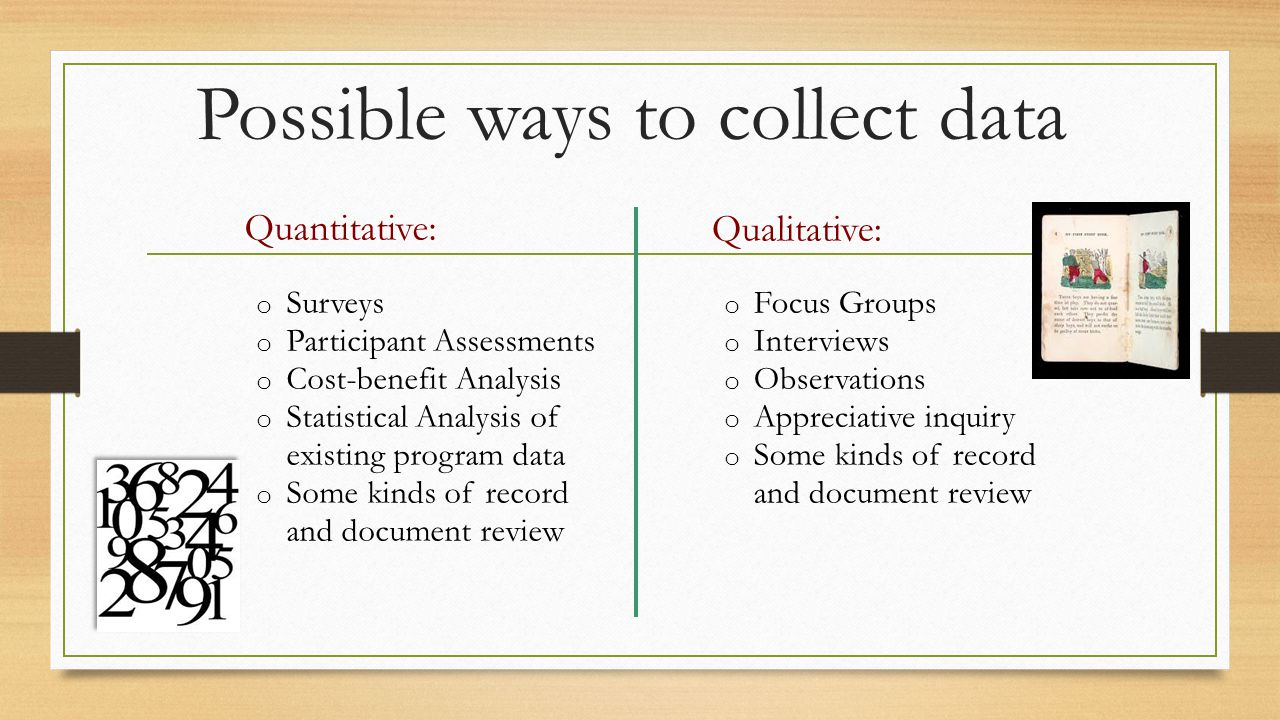Possible ways to collect data